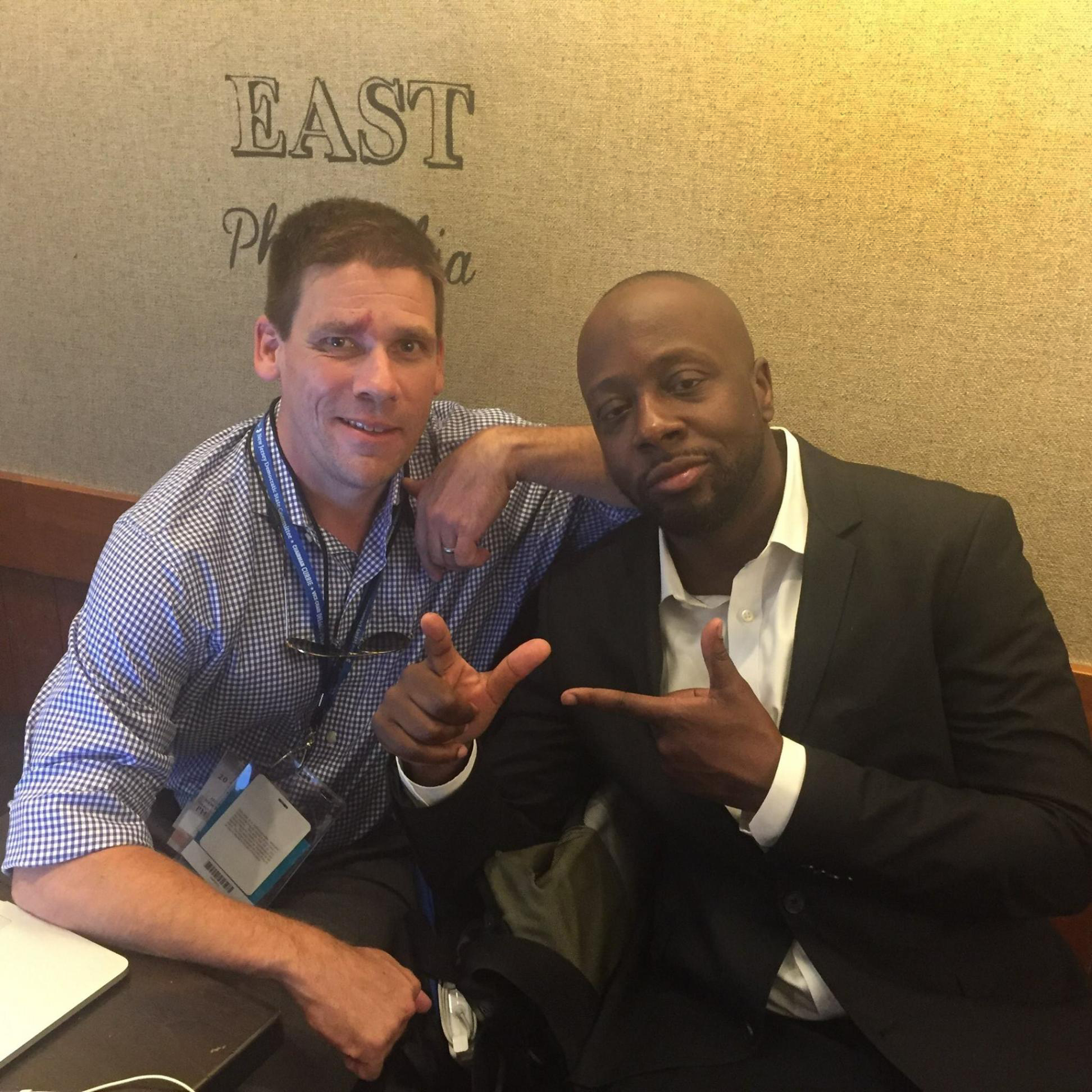 Morning Briefing staffer Bruno Tedeschi gets some wisdom from New Jersey Hall of Famer Wyclef Jean at the Democratic National Convention in July.