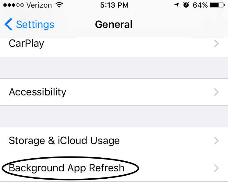 iPhone Background App Refresh setting