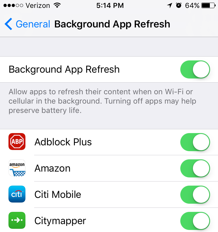 Each app can control Background App Refresh setting