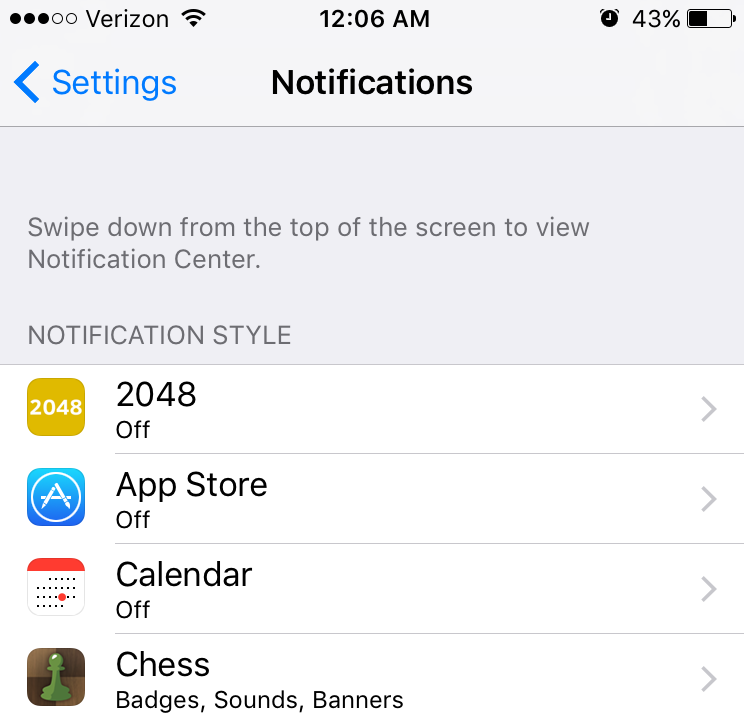 Turn off notifications for individual apps