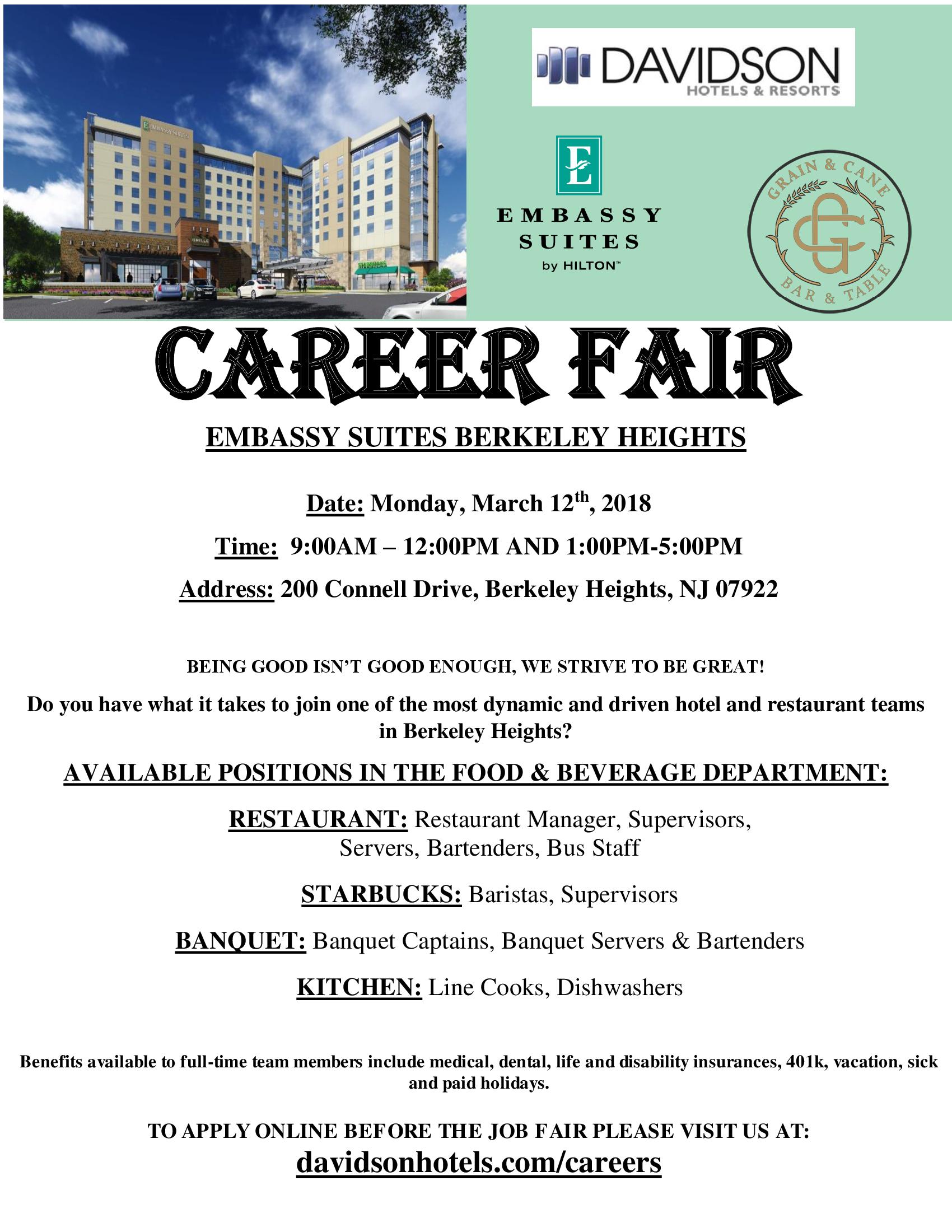 Embassy Suites Berkeley Heights Holds Food & Beverage Career Fair