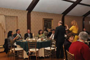 Guests enjoy dinner at the event.