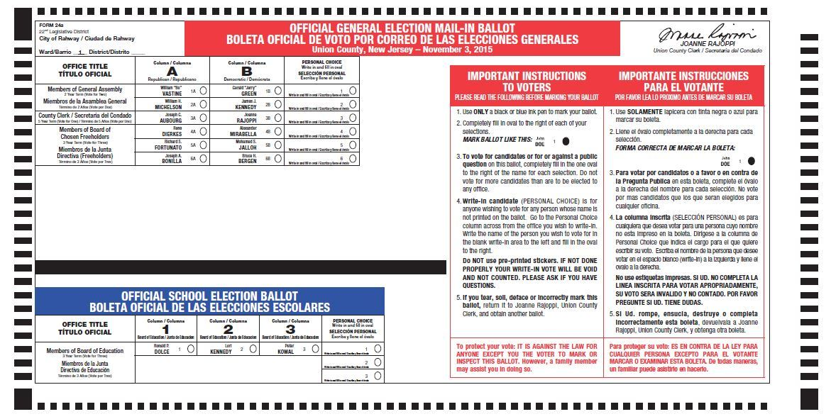 Election Ballots Redesigned for 2015 General Election - Summit NJ ...