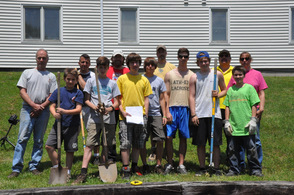 Some of the crew helping Ryan Bills with his Eagle Scout rain garden project.