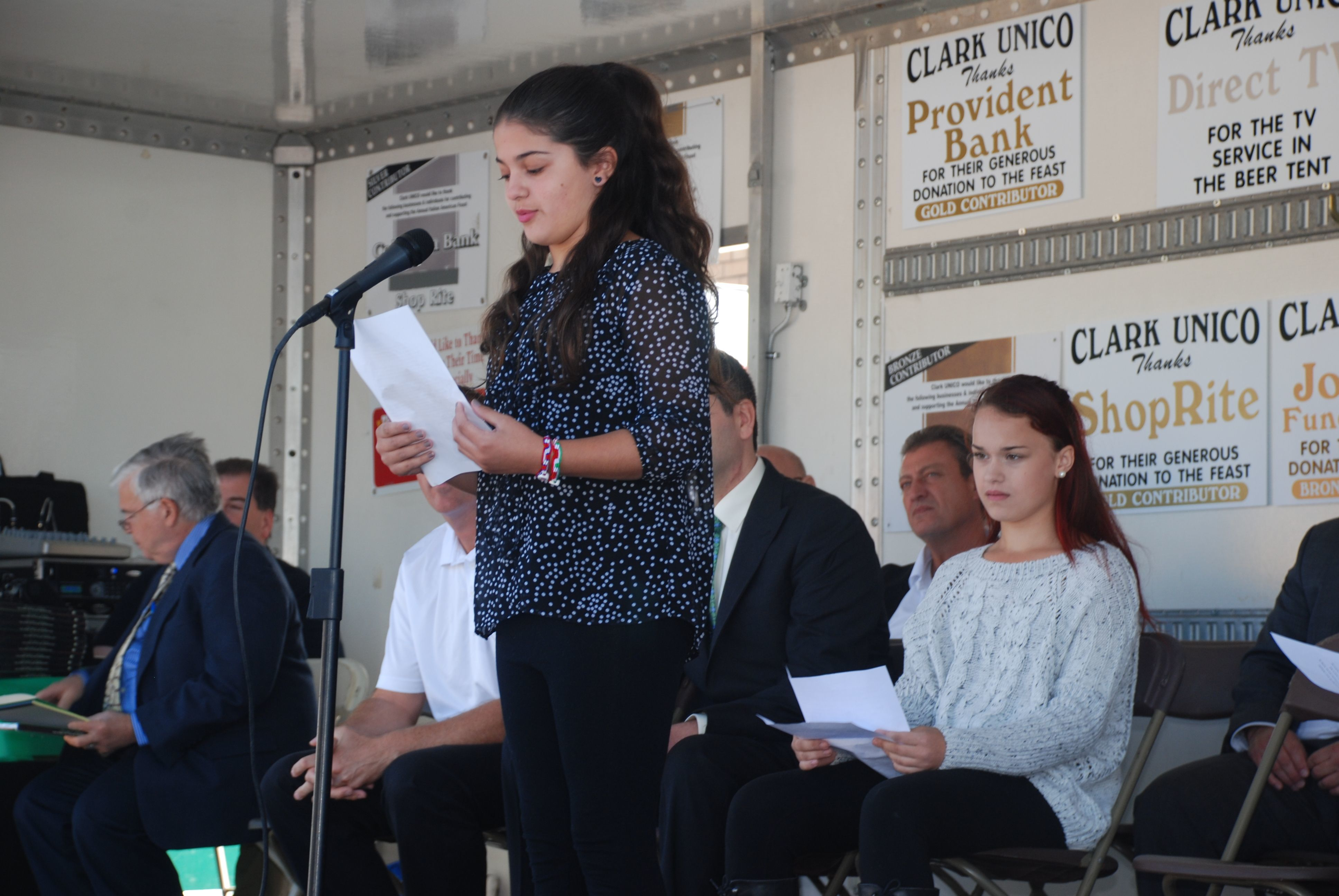 columbus remembered italian americans honored at clark unico valley road school essay winner gina galiszewski credits susan roselli bonnell