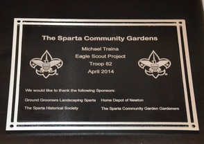Plaque presented to the Sparta Community Garden