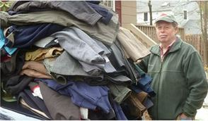 """Jeff Friedman a.k.a 'The Coat Guy"""" Getting Ready to Make a Delivery"""