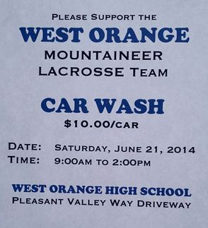 West Orange High School Lacrosse Team to Hold Carwash Fundraiser, photo 1