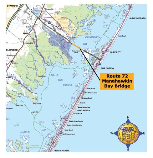 The Latest Manahawkin Bay Bridge Project Update StaffordLBI NJ - Us intracoastal waterway map