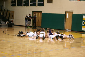 Lady Mustangs pep talk.