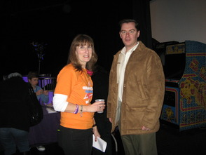 (Left to right) Relay for Life committee chairwoman Barbara Bartolomeo greets Florham Park borough councilman Charles Malone, at the Relay for Life of Madison/Florham Park kick-off celebration at Powerhouse Studios on Wednesday, February 20th.