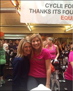 Greer Gelman and Jen Hubert at Cycle for Survival