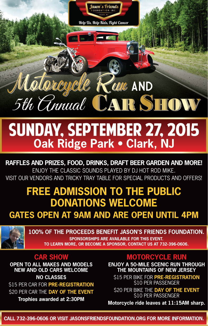 Car Show and Motorcycle Ride in Clark to Benefit Pediatric Cancer ...