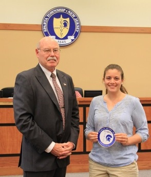 Sparta High School Senior Christine Galley and Councilman Gil Gibbs