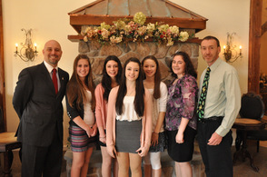 Heroes Chairman Jason Sarnoski, with students, Madison Kleeschulte, Brianna Cimaglia, Shannon Gambati, Jordan Leshnower, Briana Palmer, and their teacher Steve Brazanskas, from the Glen Meadows School.