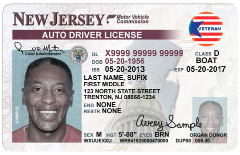 New veterans designation for nj drivers license available for Motor vehicle in trenton new jersey