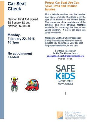 newton first aid squad hosts car seat inspection news tapinto. Black Bedroom Furniture Sets. Home Design Ideas
