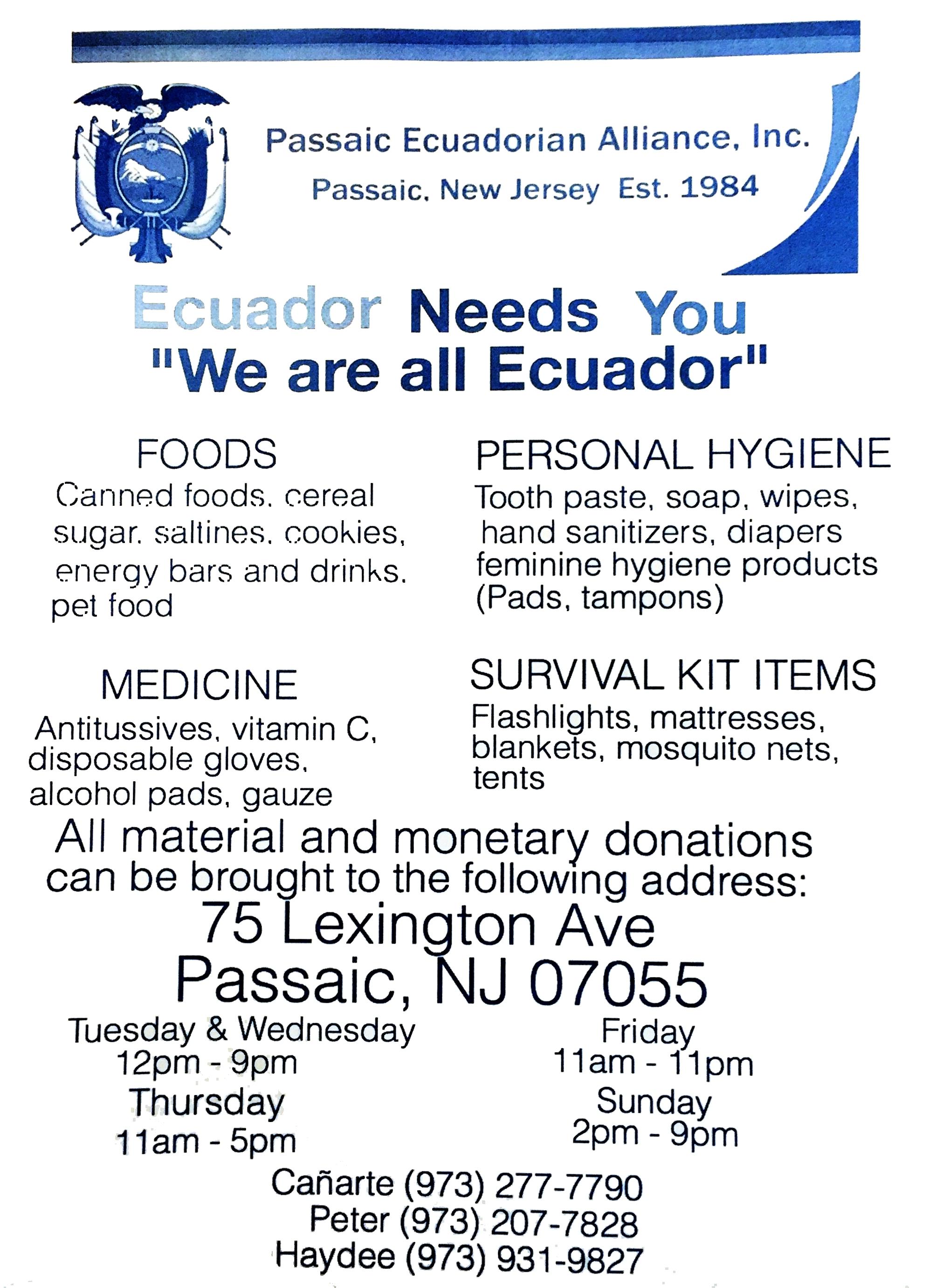 ecuador earthquake relief efforts continue in west orange and