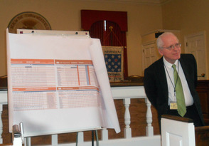 Tom Morgan takes questions from the crowd at the Raritan Valley Train Coalition meeting today.