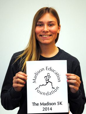 Madison High School 10th grader Alex LaHaie displays her winning t-shirt design for the Madison Education Foundation's 11th Annual 5K Run/Walk/Kids' Fun Runs to be held on Sunday, May 4 at Madison High School, 170 Ridgedale Avenue