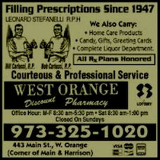 Old Ad for West Orange Pharmacy