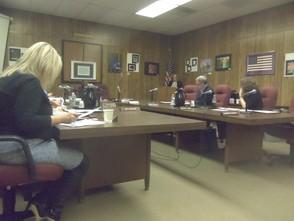 The board listening to Pamela Ackerman-Garcia