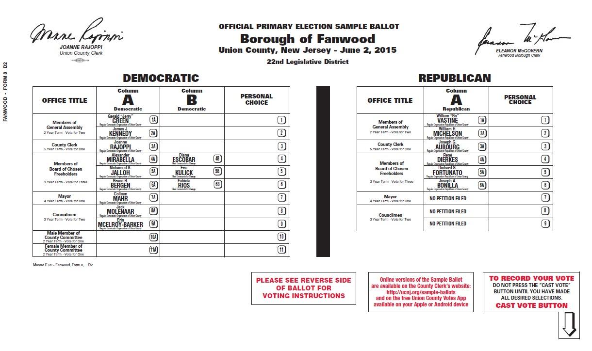 Fanwood Primary Election Ballot for June 2 - Scotch Plains/Fanwood ...