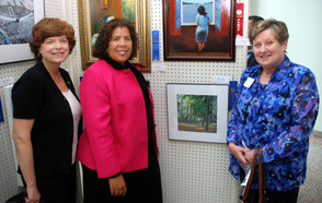 Union County Freeholders Bette Jane Kowalski and Linda Carter congratulate Marjorie Picard