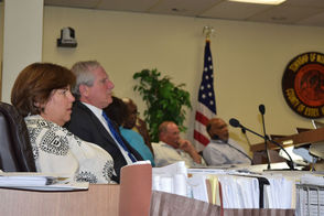 Montclair Township Planning Director Janice Talley and Planning Board Members looking at MC Hotel Presentation