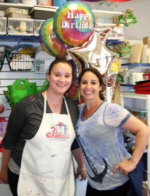 Amy Boroff (right) invited kids and adults to make cards for Danny Nickerson at Be Craftful