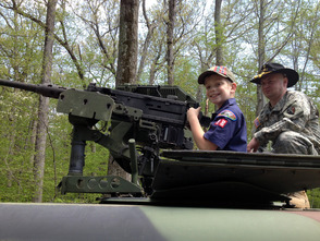 Playing Soldier atop the Humvee