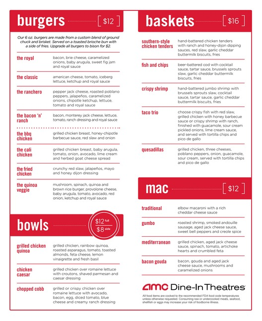 Amc dine in theatres menu calories New jersey dine in theatre