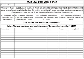 Dog Walk-A-Thon Flyer