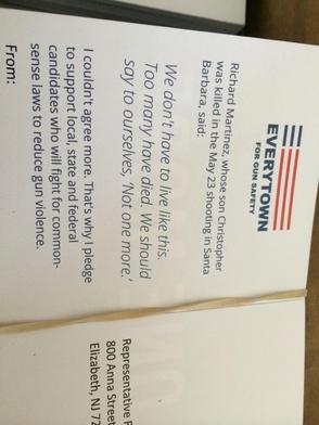 Postcards delivered to Congressman Lance's office