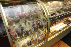 An array of candy apples for purchase at the Candy Apple Shoppe.