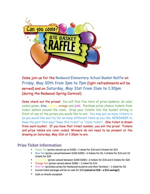 Redwood Elementary School Carnival/Basket Raffle to be Held May 30, photo 2