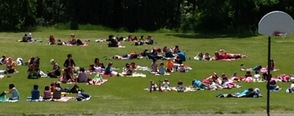 The entire Alpine school family came together on the back field to Relax and Read for thirty minutes