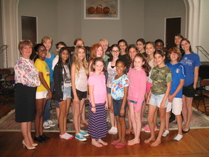 Dreamcatcher Repertory Theatre's summer campers with Ludy Agrillo from Haven Savings Bank