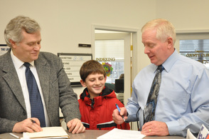 Sussex County Freeholder Candidate, George Graham, submits his petition to Sussex County Clerk Jeff Parrott, as grandson Seth Markle, age 11, witnesses the event.