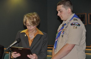 Eagle Scout Greg Schmitt Recognized by BOE