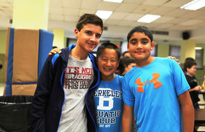 Millburn Sixth-graders Armaan Kapoor, Allen Zhu and Simon Bitan (l to r) at the Ice-Cream Social