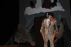 Elena Arida and Michael Poyntz act out a scene