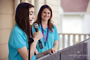 Cranford area Promise Walk Junior Co-Coordinator Marissa Steiner addresses a crowd of over 275 participants
