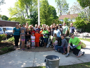 Volunteers and the Clean Up and Green Up Event on Irvington Avenue