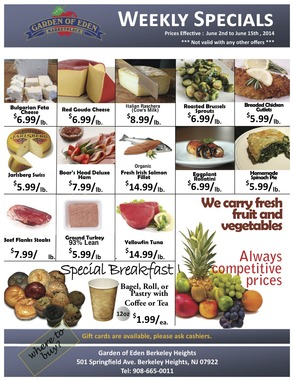Weekly Specials at Garden of Eden Marketplace for Week of June 2 through June 15 , photo 2