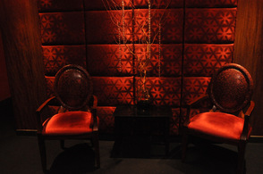 The red-themed Reflections Spa at Crystal Springs Resort; apropos for Valentine's Day.
