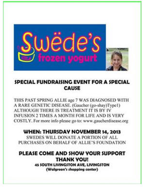 Fundraiser for Livingston Girl to be Held at Swede's Frozen Yogurt on Nov. 14, photo 1