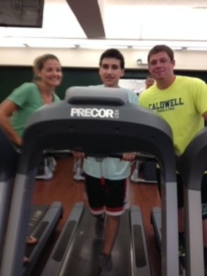 From left: Sylvia Sekula, special needs teacher at Harrison School, Sam Snyder & Brian Keltner, physical education intern at West Essex YMCA