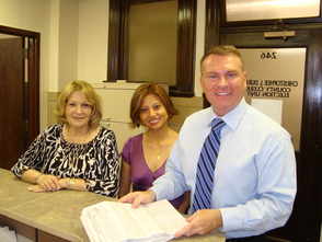 (L-R) Virginia Salerno, Mayter Perez and Chris Durkin filing petitions at the Essex County Clerk's office.