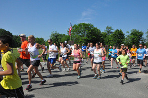 Runners head off on the course.